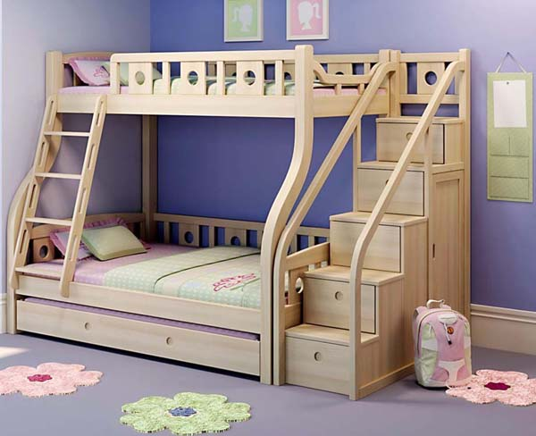 Wooden Bunk Beds with Stairs 600 x 488